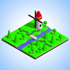 Isometric illustration of a windmill near the river. Isometric bridge over the river. Countryside picture.