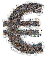Euro sign photomosaic from business photos