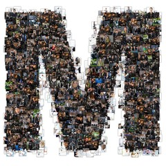 M letter photomosaic from business oriented photos