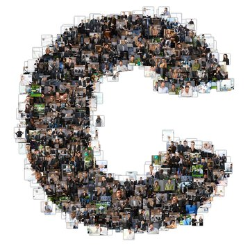 C letter photomosaic from business oriented photos