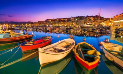 Portoferraio boats on the coastline of  isola d'Elba, Elba island in Tuscany region, Italy.