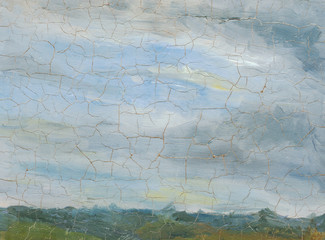 landscape, old oil painting cracked paint