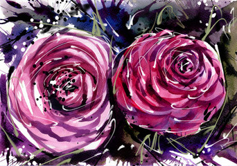 Watercolor painting Flower bouquets rose style Abstract Art.