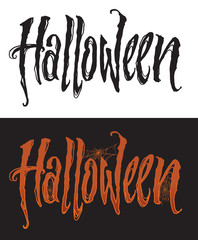 Hand drawn halloween lettering with spiderweb