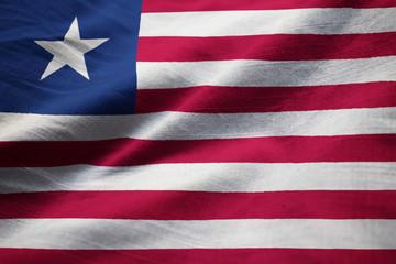 Closeup of Ruffled Liberia Flag, Liberia Flag Blowing in Wind