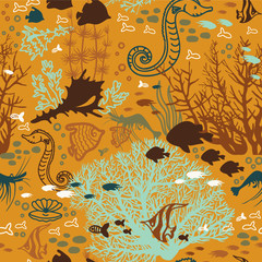 Seamless pattern with coral reef and underwater creatures.