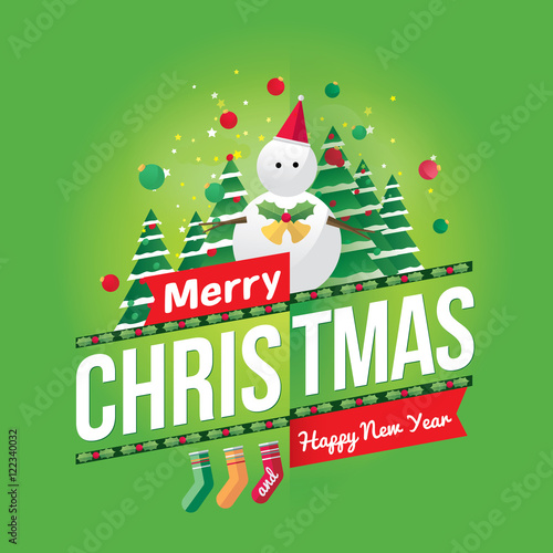 """Merry Christmas and Happy New Year greeting card/poster ..."