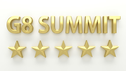 G8 SUMMIT - with stars on white background - High quality 3D Ren