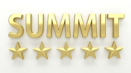 SUMMIT - with stars on white background - High quality 3D Render