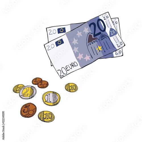 Euro Scheine Munzen Handgezeichnet Illustration Comic Stock