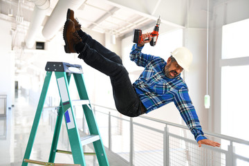 Hispanic Worker Falling from Ladder