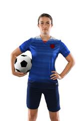 Female Soccer Player Holding Ball