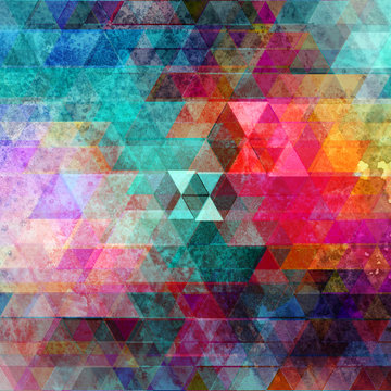 Watercolor geometric background with triangles