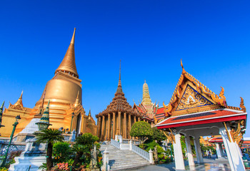 Wall Murals Place of worship Wat Phra Kaew or Temple of the Emerald Buddha or Wat Phra Si Rattana Satsadaram in Bangkok of Thailand