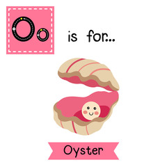 O letter tracing. Oyster with a pearl. Cute children zoo alphabet flash card. Funny cartoon animal. Kids abc education. Learning English vocabulary. Vector illustration.