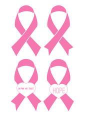 Set of flat pink ribbons