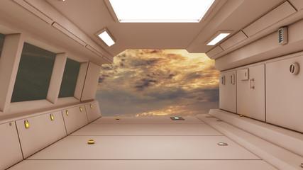 3D Futuristic Corridor Interior