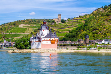 Pfalzgrafenstein Castle, on the Falkenau island in the Rhine riv Fototapete