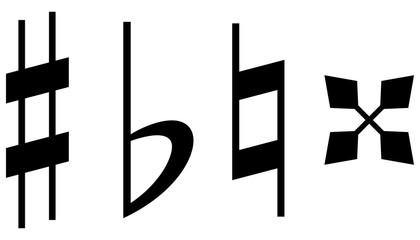 音楽記号:シャープ フラット ナチュラル ダブルシャープ