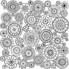 Seamless asian ethnic floral mandala doodle black and white pattern