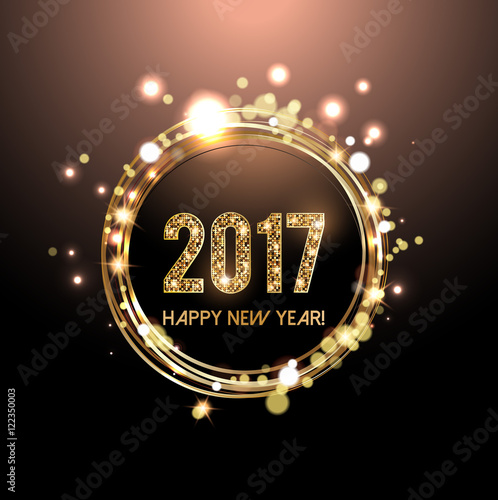 happy new year 2017 card golden lights background