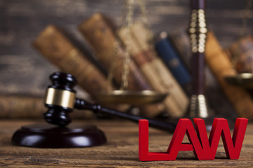 Law wooden gavel barrister, justice concept, legal system concep