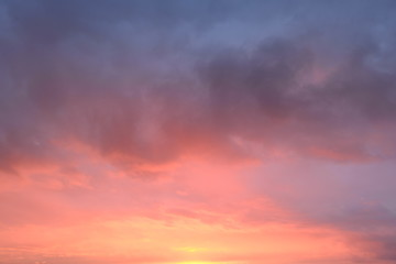 Weather sunny autumn sky bright flash of sunset