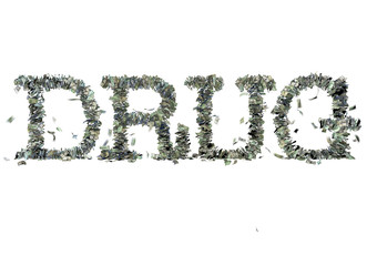 """The word """"DRUG"""" made out of 1, 5, 20, 50 and 100 dollar bills"""