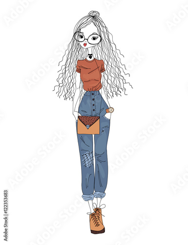 Vector Fashion Illustration. Colorful Sketch of a Urban Girl Wearing Hipster Clothes. Street Fashion Model