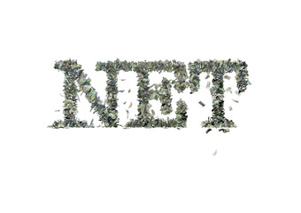 """The word """"NET"""" made out of 1, 5, 20, 50 and 100 dollar bills"""