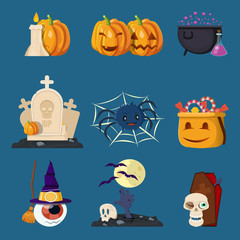 Halloween Characters Cartoon Icons Set