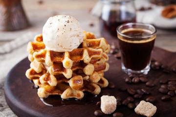 Fresh whole wheat waffles, ice cream, maple syrup