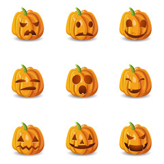 Isolated Halloween Pumpkin Emoticons Set