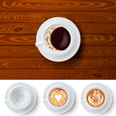 Changeable Coffee Cups On Wood Background