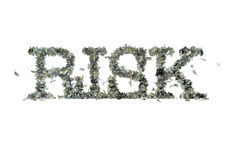 """The word """"RISK"""" made out of 1, 5, 20, 50 and 100 dollar bills"""