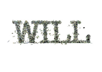 "The word ""WILL"" made out of 1, 5, 20, 50 and 100 dollar bills"