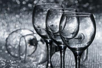 Five empty wine glasses