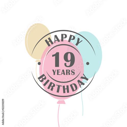 """Happy Birthday 19 Years Round Logo With Festive Balloons"