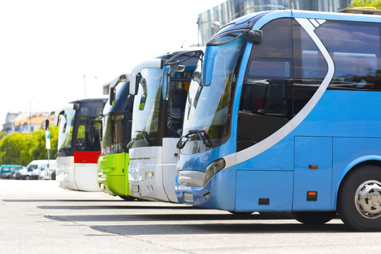 distance buses in the car park