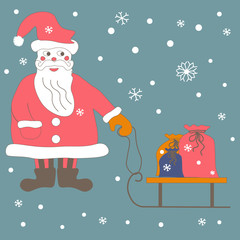 Santa Claus with a sled on which colorful bags with the gifts. Snowflakes on a blue background. Vector illustration