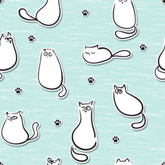 Seamless pattern with funny cats stickers. Vector illustration.