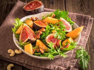 Fig and melon salad with mizuna