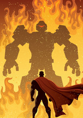 Superhero Versus Robot / Superhero facing giant evil robot.