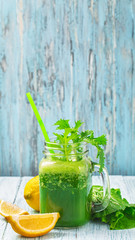 Green smoothie with copy space