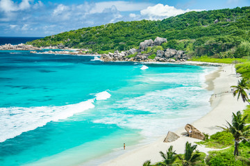Amazing view at Grande Anse beach located on La Digue Island, Se