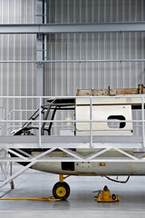 Helicopter fuselage in a factory