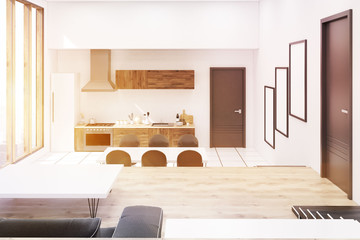 Sunlit studio kitchen