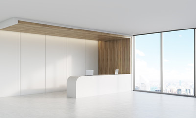 Side view of reception desk with window