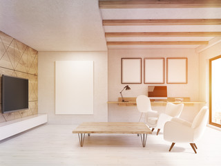 Sunlit living room with wooden elements