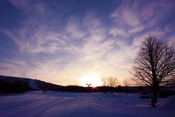 スキー場の夕景